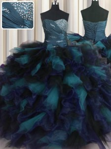 Custom Fit Multi-color Vestidos de Quinceanera Military Ball and Sweet 16 and Quinceanera and For with Beading and Ruffles Sweetheart Sleeveless Lace Up