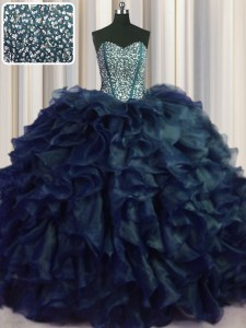 Cheap Visible Boning Bling-bling With Train Navy Blue Quince Ball Gowns Sweetheart Sleeveless Brush Train Lace Up