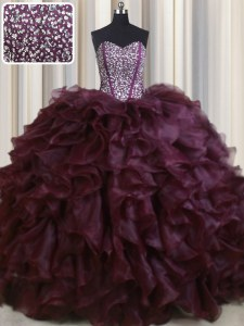 Visible Boning Organza Sweetheart Sleeveless Brush Train Lace Up Beading and Ruffles Ball Gown Prom Dress in Burgundy