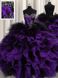 Black And Purple Sweetheart Lace Up Beading and Ruffles Quince Ball Gowns Sleeveless