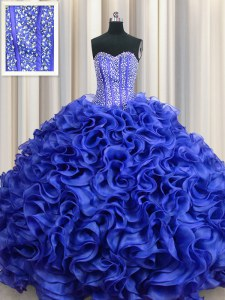 Best Selling Visible Boning Sweetheart Sleeveless Lace Up Quince Ball Gowns Royal Blue Organza