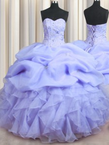 Visible Boning Lavender Organza Lace Up Quince Ball Gowns Sleeveless Floor Length Beading and Ruffles