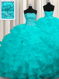Custom Design Aqua Blue Strapless Lace Up Beading and Ruffles 15th Birthday Dress Sweep Train Sleeveless