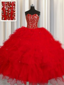Latest Visible Boning Red Ball Gowns Tulle Sweetheart Sleeveless Beading and Ruffles and Sequins Floor Length Lace Up Sweet 16 Dress