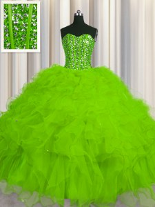 High Class Visible Boning Sweetheart Lace Up Beading and Ruffles and Sequins Sweet 16 Dress Sleeveless