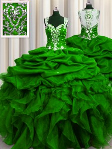 See Through Back Sequins Floor Length Ball Gowns Sleeveless Green Sweet 16 Quinceanera Dress Zipper