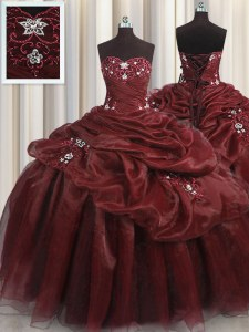 Sweetheart Sleeveless Organza Sweet 16 Dresses Beading and Appliques and Pick Ups Lace Up