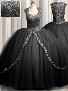 Affordable Zipple Up Black Sweetheart Zipper Beading and Appliques Quinceanera Dresses Brush Train Cap Sleeves