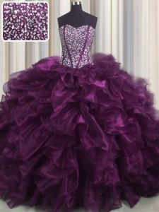 Flare Visible Boning Sweetheart Sleeveless Quince Ball Gowns With Brush Train Beading and Ruffles Dark Purple Organza