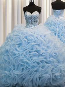 Customized Brush Train Baby Blue Ball Gowns Beading and Pick Ups Quinceanera Dress Lace Up Fabric With Rolling Flowers Sleeveless