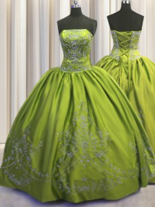 Simple Olive Green Strapless Neckline Beading and Embroidery Sweet 16 Quinceanera Dress Sleeveless Lace Up
