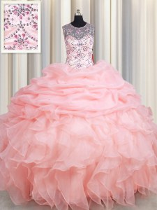 See Through Scoop Sleeveless Organza 15th Birthday Dress Beading and Ruffles and Pick Ups Lace Up