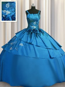 Embroidery Ball Gowns Quinceanera Gown Teal Spaghetti Straps Satin Sleeveless Floor Length Lace Up