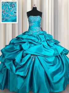 Amazing Teal Ball Gowns Appliques and Pick Ups Sweet 16 Dress Lace Up Taffeta Sleeveless Floor Length