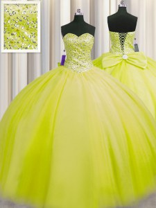 Attractive Really Puffy Sleeveless Beading Lace Up Quinceanera Dresses