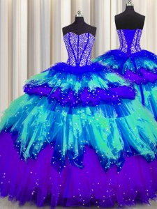 Bling-bling Visible Boning Multi-color Ball Gowns Beading and Ruffles and Ruffled Layers and Sequins Quince Ball Gowns Lace Up Tulle Sleeveless Floor Length