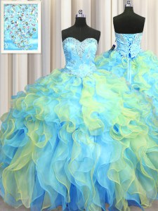 New Style Floor Length Ball Gowns Sleeveless Multi-color Quinceanera Gowns Lace Up