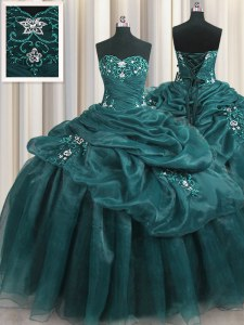 Teal Ball Gowns Organza Sweetheart Sleeveless Beading and Appliques and Ruffles Floor Length Lace Up 15th Birthday Dress