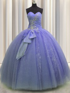Sequins Bowknot Floor Length Ball Gowns Sleeveless Lavender Quince Ball Gowns Lace Up