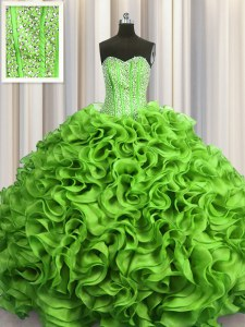 Visible Boning Floor Length Ball Gowns Sleeveless Quinceanera Dress Lace Up