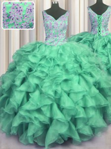 Luxury V Neck Turquoise Ball Gowns Beading and Ruffles 15 Quinceanera Dress Lace Up Organza Sleeveless Floor Length