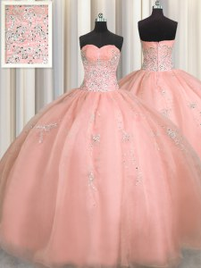 Puffy Skirt Watermelon Red Sweetheart Neckline Beading and Appliques Quinceanera Dresses Sleeveless Zipper
