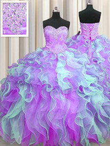 Enchanting Multi-color Lace Up Ball Gown Prom Dress Beading and Appliques and Ruffles Sleeveless Floor Length