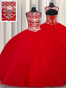 Gorgeous Scoop Sleeveless Floor Length Beading Lace Up Quinceanera Gown with Red