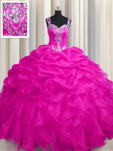 See Through Zipper Up Hot Pink Ball Gowns Appliques and Ruffles and Ruffled Layers Ball Gown Prom Dress Zipper Organza Sleeveless Floor Length