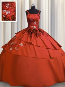Nice Rust Red Vestidos de Quinceanera Military Ball and Sweet 16 and Quinceanera and For with Beading and Embroidery Spaghetti Straps Sleeveless Lace Up