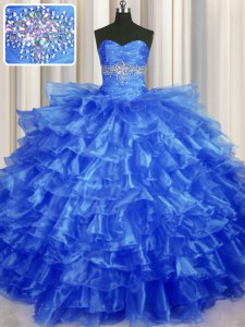 Sexy Beading and Ruffled Layers Vestidos de Quinceanera Royal Blue Lace Up Sleeveless Floor Length