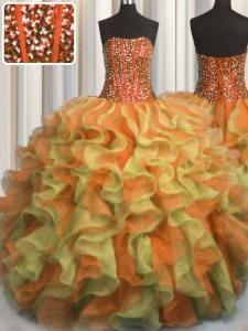 Visible Boning Beaded Bodice Multi-color Sleeveless Beading and Ruffles Floor Length Vestidos de Quinceanera