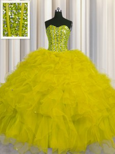 Visible Boning Yellow Tulle Lace Up Sweetheart Sleeveless Floor Length Quinceanera Gowns Beading and Ruffles and Sequins