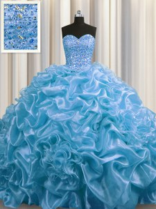 Artistic Sweetheart Sleeveless Organza Ball Gown Prom Dress Beading and Pick Ups Court Train Lace Up