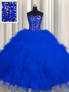 Gorgeous Visible Boning Ball Gowns Quinceanera Gown Royal Blue Sweetheart Tulle Sleeveless Floor Length Lace Up