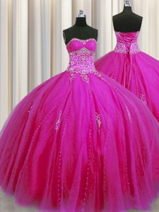 Really Puffy Sleeveless Floor Length Beading and Appliques Lace Up Sweet 16 Quinceanera Dress with Fuchsia