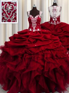 Latest See Through Beading and Ruffles and Sequins Quinceanera Gowns Wine Red Zipper Sleeveless Floor Length