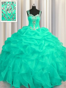 Artistic See Through Zipper Up Sleeveless Appliques and Ruffles Zipper Vestidos de Quinceanera