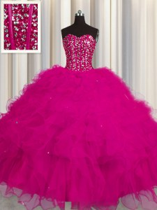 Visible Boning Floor Length Fuchsia Sweet 16 Dresses Tulle Sleeveless Beading and Ruffles and Sequins