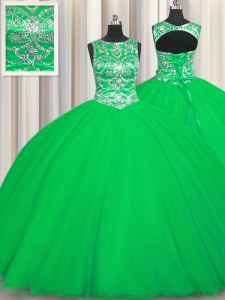 Scoop Sleeveless Lace Up Ball Gown Prom Dress Green Tulle
