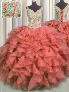 Custom Fit Coral Red V-neck Lace Up Beading and Ruffles 15 Quinceanera Dress Sleeveless