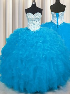 Flare Tulle Sweetheart Sleeveless Lace Up Beading and Ruffles Ball Gown Prom Dress in Baby Blue