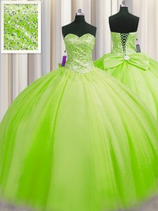 New Arrival Big Puffy Ball Gowns Sweetheart Sleeveless Tulle Floor Length Lace Up Beading Quinceanera Gowns