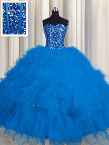 Modern Visible Boning Sweetheart Sleeveless Tulle Sweet 16 Dress Beading and Ruffles and Sequins Lace Up