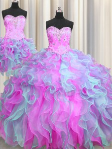 Three Piece Sleeveless Organza Lace Up Sweet 16 Dresses in Multi-color with Beading and Ruffles
