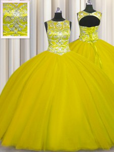Romantic Gold Lace Up Scoop Beading Quinceanera Dress Tulle Sleeveless