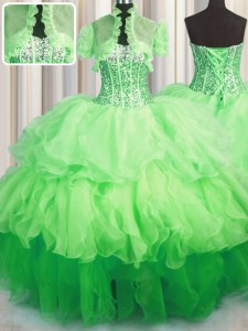 Visible Boning Bling-bling Sweetheart Sleeveless Lace Up Vestidos de Quinceanera Organza