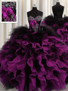 Inexpensive Sweetheart Sleeveless Ball Gown Prom Dress Floor Length Beading and Ruffles Multi-color Organza and Tulle