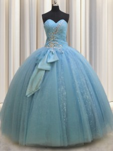 Glorious Floor Length Baby Blue Quinceanera Dress Tulle Sleeveless Beading and Sequins and Bowknot