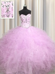 Glorious Visible Boning Lilac Tulle Lace Up Sweetheart Sleeveless Floor Length Sweet 16 Quinceanera Dress Beading and Appliques and Ruffles